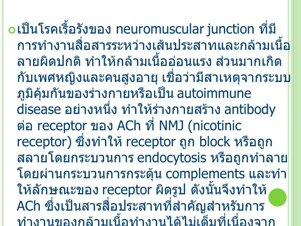 เป็นโรคเรื้อรังของ neuromuscular junction ที่มี การทำงานสื่อสารระหว่างเส้นประสาทและกล้ามเนื้อ ลายผิดปกติ ทำให้กล้ามเนื้ออ่อนแรง ส่วนมากเกิด กับเพศหญิงและคนสูงอายุ เชื่อว่ามีสาเหตุจากระบบ ภูมิคุ้มกันของร่างกายหรือเป็น autoimmune disease อย่างหนึ่ง ทำให้ร่างกายสร้าง antibody ต่อ receptor ของ ACh ที่ NMJ (nicotinic receptor) ซึ่งทำให้ receptor ถูก block หรือถูก สลายโดยกระบวนการ endocytosis หรือถูกทำลาย โดยผ่านกระบวนการกระตุ้น complements และทำ ให้ลักษณะของ receptor ผิดรูป ดังนั้นจึงทำให้ ACh ซึ่งเป็นสารสื่อประสาทที่สำคัญสำหรับการ ทำงานของกล้ามเนื้อทำงานได้ไม่เต็มที่เนื่องจาก จำนวน nicotinic receptor ที่ NMJ มีน้อยกว่าปกติ