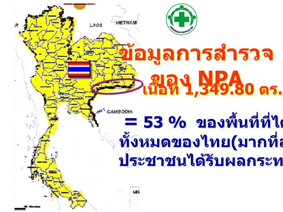 ข้อมูลการสำรวจ ของ NPA = 53 % ของพื้นที่ที่ได้รับผลกระทบ = 53 % ของพื้นที่ที่ได้รับผลกระทบ ทั้งหมดของไทย ( มากที่สุด ) ทั้งหมดของไทย ( มากที่สุด ) ประชาชนได้รับผลกระทบ 466 ชุมชน ประชาชนได้รับผลกระทบ 466 ชุมชน เนื้อที่ 1,349.80 ตร.