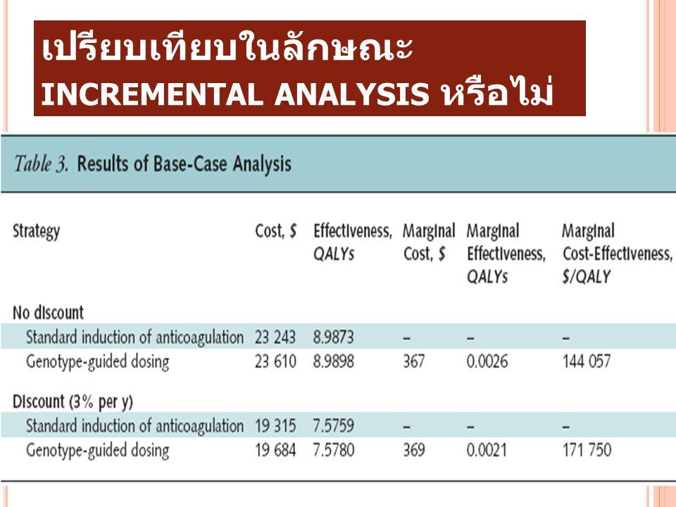 8. การวิจัยเป็นการวิเคราะห์เชิง เปรียบเทียบในลักษณะ INCREMENTAL ANALYSIS หรือไม่