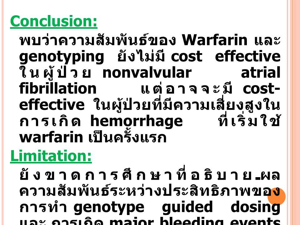 Conclusion: พบว่าความสัมพันธ์ของ Warfarin และ genotyping ยังไม่มี cost effective ในผู้ป่วย nonvalvular atrial fibrillation แต่อาจจะมี cost- effective