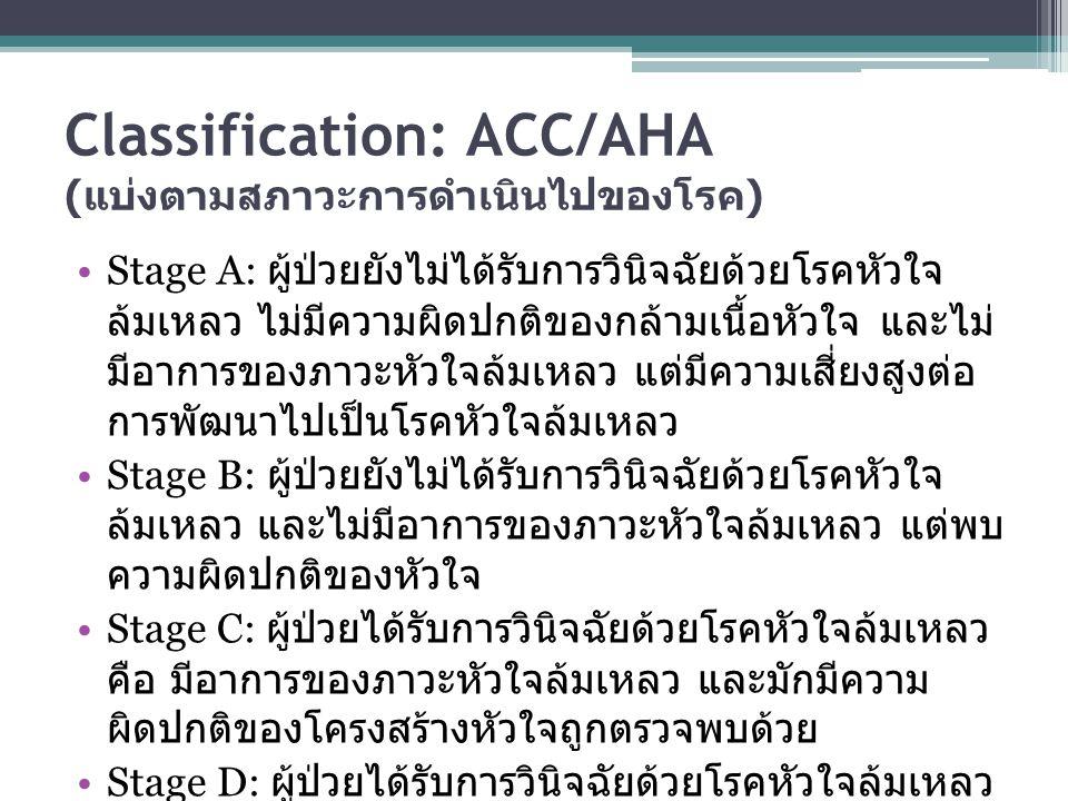 Classification: ACC/AHA ( แบ่งตามสภาวะการดำเนินไปของโรค ) Stage A: ผู้ป่วยยังไม่ได้รับการวินิจฉัยด้วยโรคหัวใจ ล้มเหลว ไม่มีความผิดปกติของกล้ามเนื้อหัว