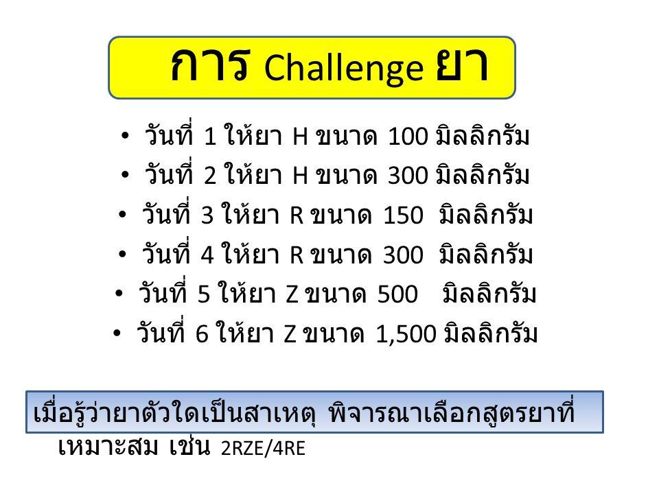 การ Challenge ยา วันที่ 1 ให้ยา H ขนาด 100 มิลลิกรัม วันที่ 2 ให้ยา H ขนาด 300 มิลลิกรัม วันที่ 3 ให้ยา R ขนาด 150 มิลลิกรัม วันที่ 4 ให้ยา R ขนาด 300