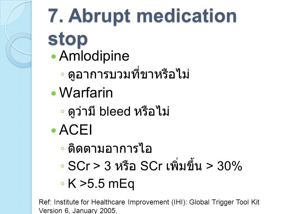 7. Abrupt medication stop Amlodipine ◦ ดูอาการบวมที่ขาหรือไม่ Warfarin ◦ ดูว่ามี bleed หรือไม่ ACEI ◦ ติดตามอาการไอ ◦ SCr > 3 หรือ SCr เพิ่มขึ้น > 30%