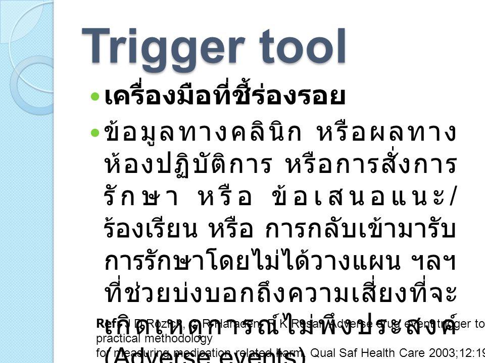 คำถาม ข้อใดคือ trigger tool.a) สั่งเพาะพบเชื้อ C.