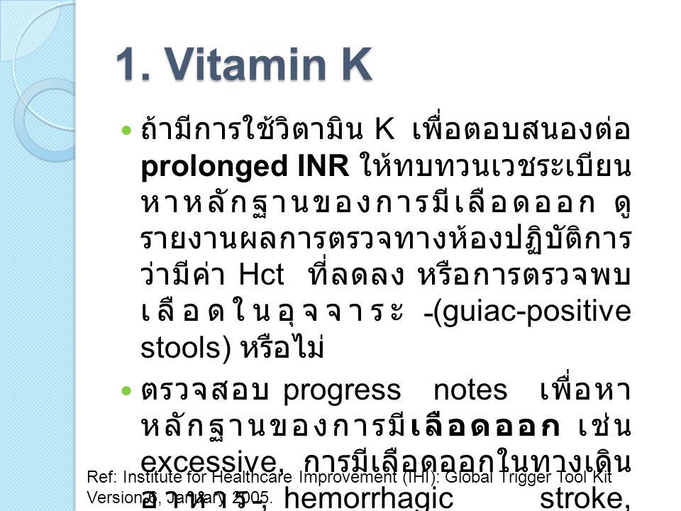 1. Vitamin K ถ้ามีการใช้วิตามิน K เพื่อตอบสนองต่อ prolonged INR ให้ทบทวนเวชระเบียน หาหลักฐานของการมีเลือดออก ดู รายงานผลการตรวจทางห้องปฏิบัติการ ว่ามี