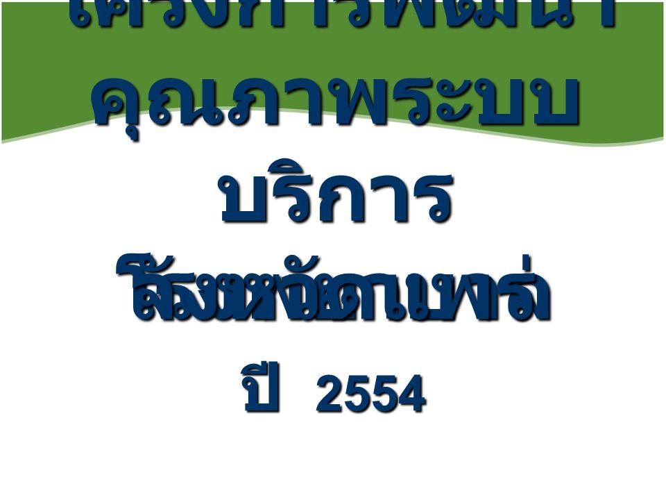 โครงการพัฒนา คุณภาพระบบ บริการ โรงพยาบาล จังหวัดแพร่ ปี 2554