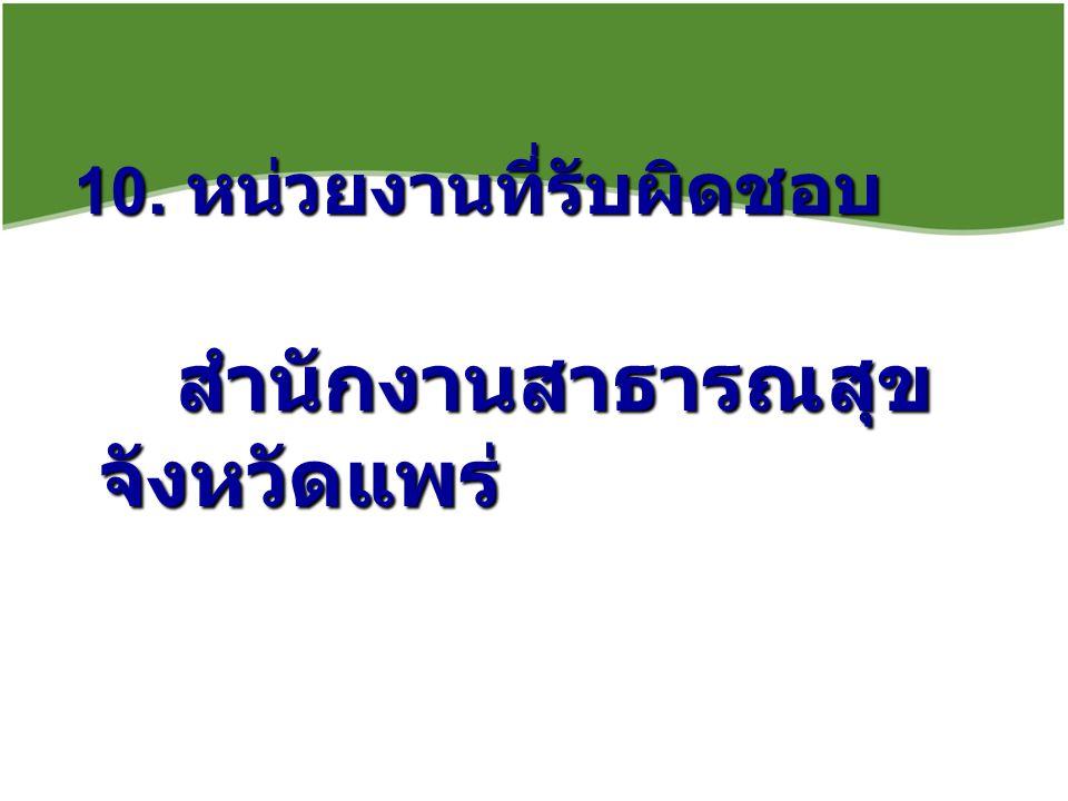 10. หน่วยงานที่รับผิดชอบ สำนักงานสาธารณสุข จังหวัดแพร่ สำนักงานสาธารณสุข จังหวัดแพร่