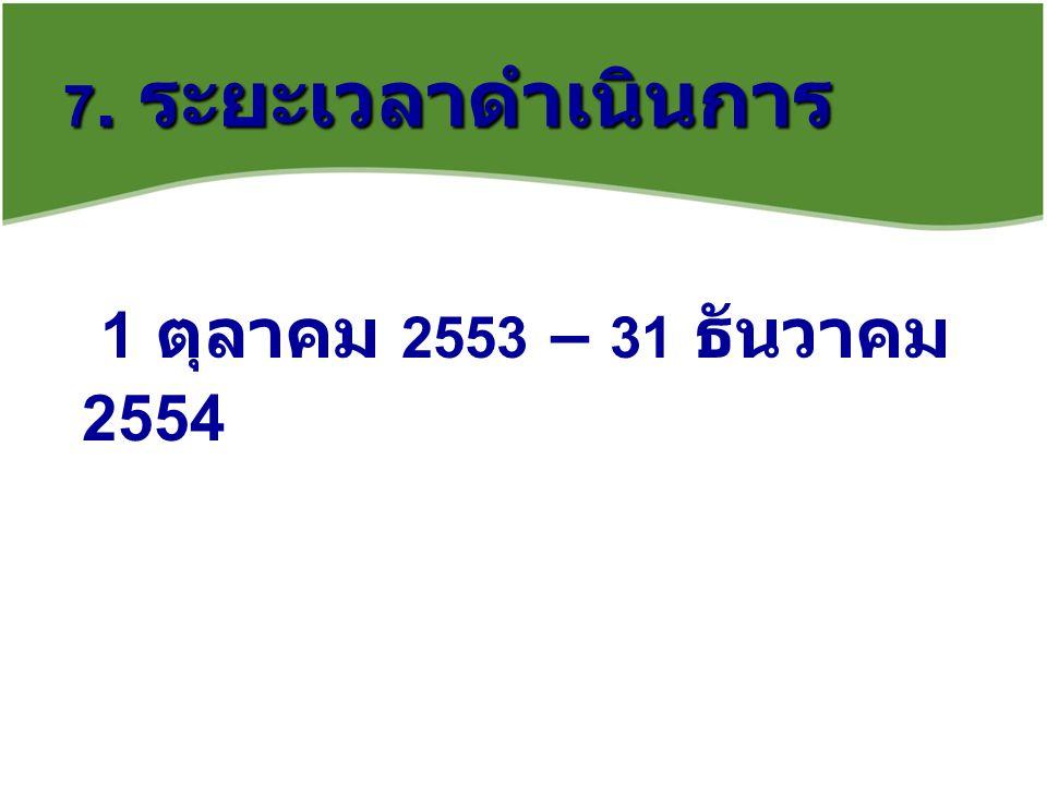 7. ระยะเวลาดำเนินการ 1 ตุลาคม 2553 – 31 ธันวาคม 2554