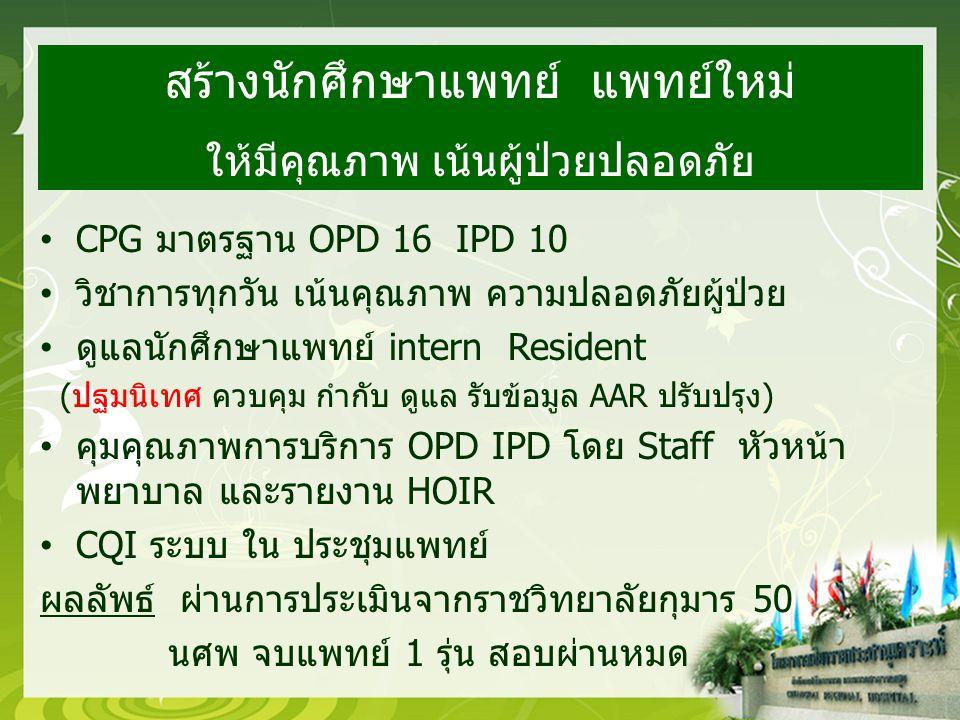 CPG มาตรฐาน OPD 16 IPD 10 วิชาการทุกวัน เน้นคุณภาพ ความปลอดภัยผู้ป่วย ดูแลนักศึกษาแพทย์ intern Resident (ปฐมนิเทศ ควบคุม กำกับ ดูแล รับข้อมูล AAR ปรับปรุง) คุมคุณภาพการบริการ OPD IPD โดย Staff หัวหน้า พยาบาล และรายงาน HOIR CQI ระบบ ใน ประชุมแพทย์ ผลลัพธ์ ผ่านการประเมินจากราชวิทยาลัยกุมาร 50 นศพ จบแพทย์ 1 รุ่น สอบผ่านหมด สร้างนักศึกษาแพทย์ แพทย์ใหม่ ให้มีคุณภาพ เน้นผู้ป่วยปลอดภัย