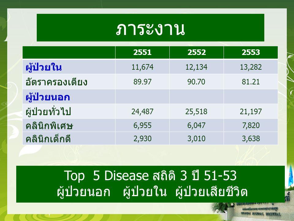 255125522553 ผู้ป่วยใน 11,67412,13413,282 อัตราครองเตียง 89.9790.7081.21 ผู้ป่วยนอก ผู้ป่วยทั่วไป 24,48725,51821,197 คลินิกพิเศษ 6,9556,0477,820 คลินิกเด็กดี 2,9303,0103,638 ภาระงาน Top 5 Disease สถิติ 3 ปี 51-53 ผู้ป่วยนอก ผู้ป่วยใน ผู้ป่วยเสียชีวิต