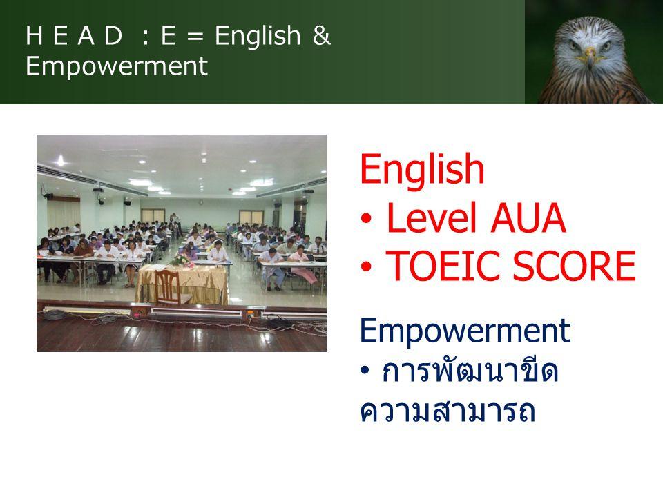H E A D : A = Approach & Achievement ดูแลใกล้ชิด สนิท เหมือน ญาติ เป้าหมายระดับบุคคล