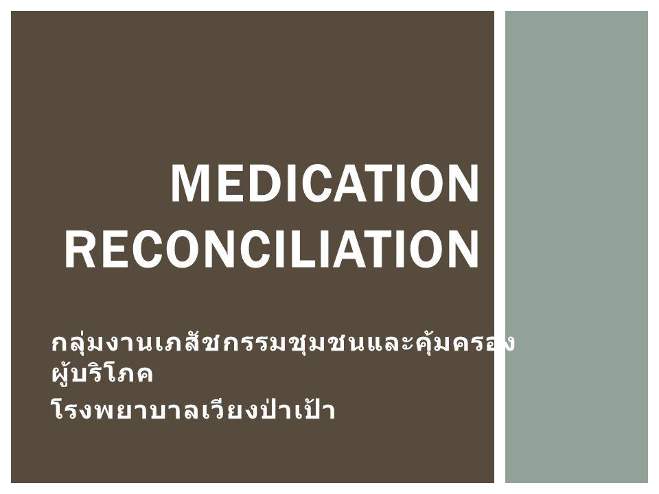 กลุ่มงานเภสัชกรรมชุมชนและคุ้มครอง ผู้บริโภค โรงพยาบาลเวียงป่าเป้า MEDICATION RECONCILIATION
