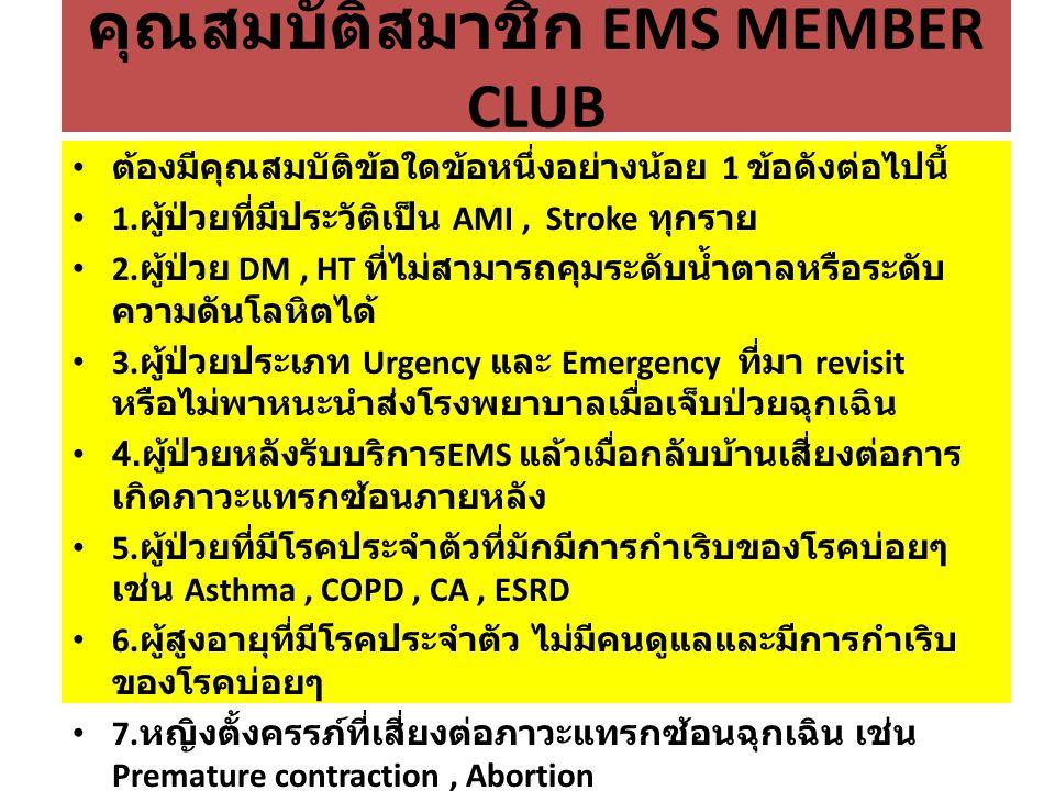 คุณสมบัติสมาชิก EMS MEMBER CLUB ต้องมีคุณสมบัติข้อใดข้อหนึ่งอย่างน้อย 1 ข้อดังต่อไปนี้ 1.