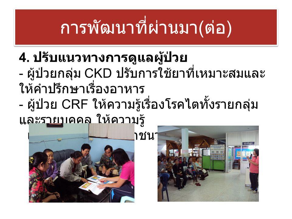 การพัฒนาที่ผ่านมา ( ต่อ ) 4. ปรับแนวทางการดูแลผู้ป่วย - ผู้ป่วยกลุ่ม CKD ปรับการใช้ยาที่เหมาะสมและ ให้คำปรึกษาเรื่องอาหาร - ผู้ป่วย CRF ให้ความรู้เรื่