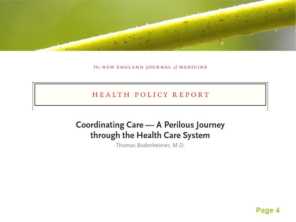 Page 5 Coordination between primary care physicians and specialists ผู้ป่วยร้อยละ 49 ถูกส่งต่อจากแพทย์ในหน่วยปฐมภูมิไปหา แพทย์เฉพาะทางโดยไม่มีประวัติการรักษาติดตัวไปด้วย แพทย์ในหน่วยปฐมภูมิได้รับข้อมูลตอบกลับจากแพทย์เฉพาะทาง เพียง ร้อยละ 55 ร้อยละ 75 ของแพทย์ ไม่ได้แจ้งผลการตรวจ ( ที่ปกติ ) ร้อยละ 33 ไม่ได้แจ้งผลการตรวจที่ผิดปติ ผู้ป่วยร้อยละ 50 กลับบ้านไปโดยไม่เข้าใจสิ่งที่แพทย์บอกกับตนเอง ผู้ป่วยเพียงร้อยละ 9 มีส่วนร่วมในตัดสินใจด้านการดูแลรักษา ใน 1 ปี พบแพทย์ปีละ 7 คน หากเป็นโรคเรื้อรัง จะพบแพทย์ 16 คน