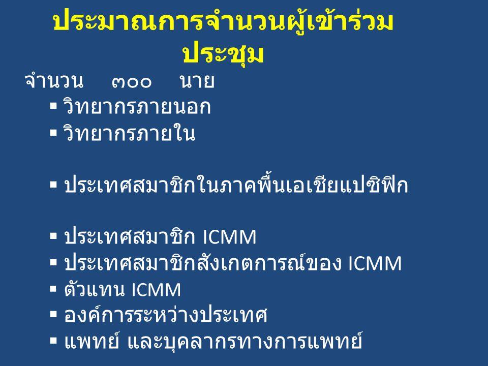 ประมาณการจำนวนผู้เข้าร่วม ประชุม จำนวน ๓๐๐ นาย  วิทยากรภายนอก  วิทยากรภายใน  ประเทศสมาชิกในภาคพื้นเอเชียแปซิฟิก  ประเทศสมาชิก ICMM  ประเทศสมาชิกสังเกตการณ์ของ ICMM  ตัวแทน ICMM  องค์การระหว่างประเทศ  แพทย์ และบุคลากรทางการแพทย์
