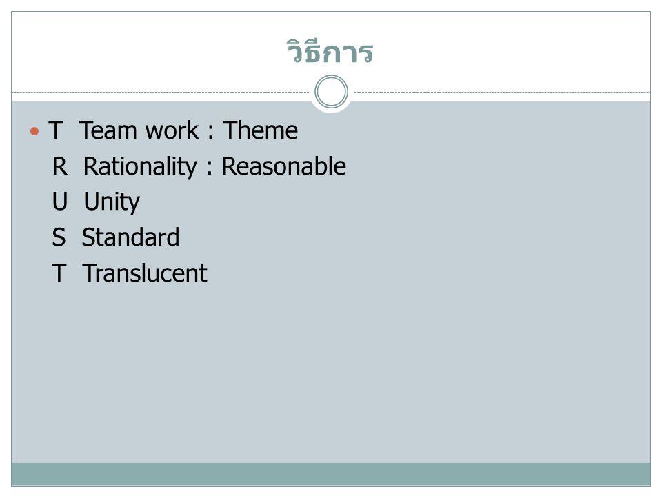 วิธีการ T Team work : Theme R Rationality : Reasonable U Unity S Standard T Translucent
