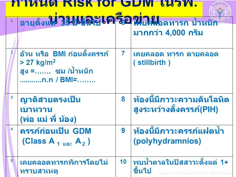 screening risk (10 ข้อ ) มี Risk ไม่มี Risk ANC ตามปก ติ 50 gm GCT >140 mg% <140 mg% 100 gm OGTT ผิดป กติ GDM class A1 GDM class A2 พบแพทย์ ให้ การรักษาหรือ Admission เจาะ 75 gm- 2 hrPP <120mg% >120mg% GCT ซ้ำ GA 24- 28WKS > 140mg% < 140mg%