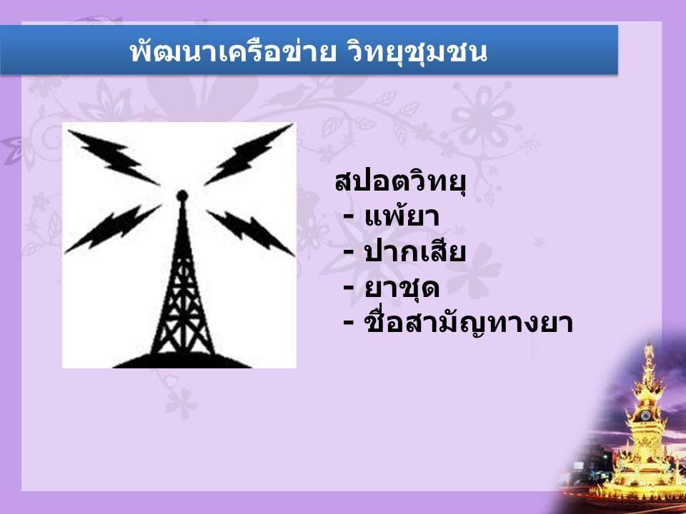 พัฒนาเครือข่าย วิทยุชุมชน สปอตวิทยุ - แพ้ยา - ปากเสีย - ยาชุด - ชื่อสามัญทางยา