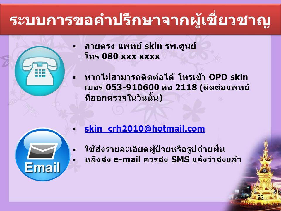 ระบบการขอคำปรึกษาจากผู้เชี่ยวชาญ  สายตรง แพทย์ skin รพ.ศูนย์ โทร 080 xxx xxxx  หากไม่สามารถติดต่อได้ โทรเข้า OPD skin เบอร์ 053-910600 ต่อ 2118 (ติด