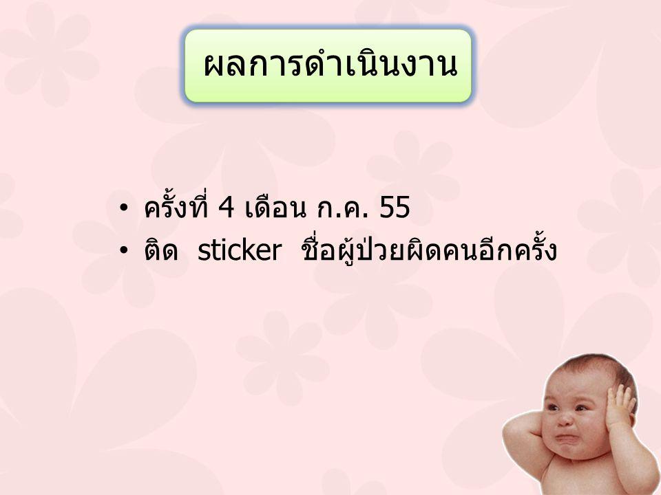 ผลการดำเนินงาน ครั้งที่ 4 เดือน ก.ค. 55 ติด sticker ชื่อผู้ป่วยผิดคนอีกครั้ง