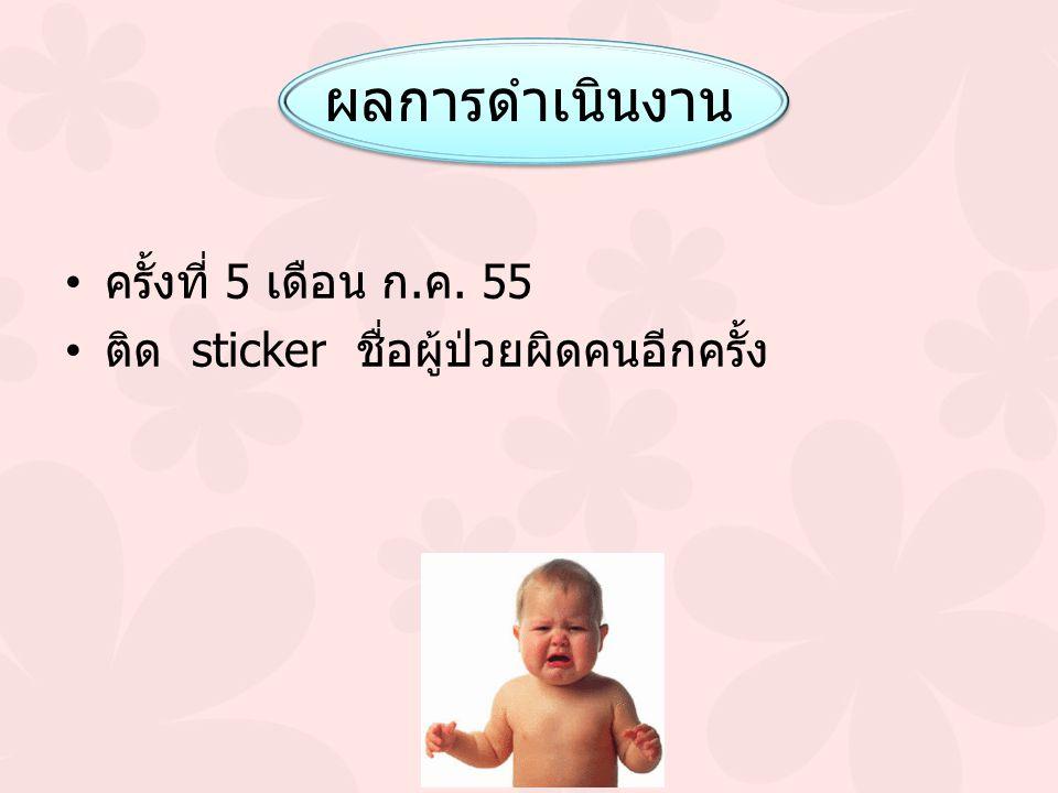 ผลการดำเนินงาน ครั้งที่ 5 เดือน ก.ค. 55 ติด sticker ชื่อผู้ป่วยผิดคนอีกครั้ง
