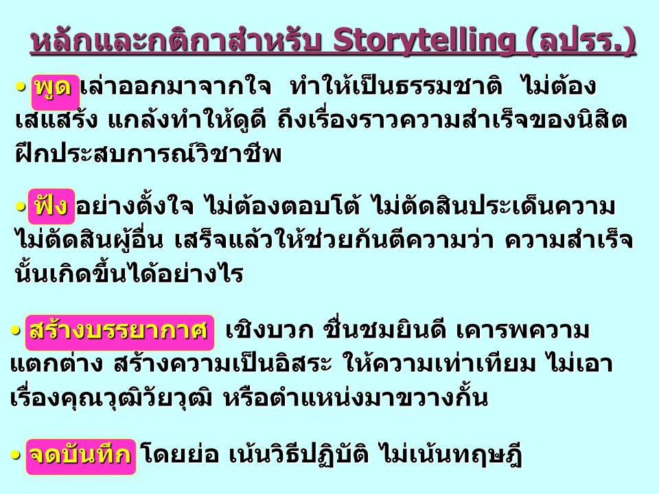 หลักและกติกาสำหรับ Storytelling (ลปรร.) หลักและกติกาสำหรับ Storytelling (ลปรร.) พูด เล่าออกมาจากใจ ทำให้เป็นธรรมชาติ ไม่ต้อง เสแสร้ง แกล้งทำให้ดูดี ถึ