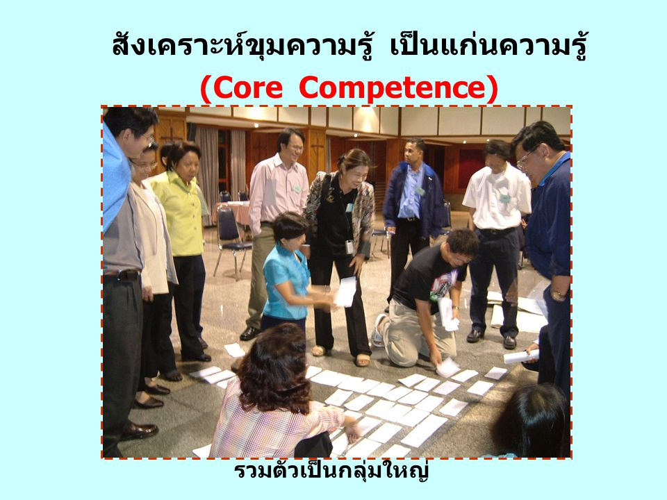 รวมตัวเป็นกลุ่มใหญ่ สังเคราะห์ขุมความรู้ เป็นแก่นความรู้ (Core Competence)