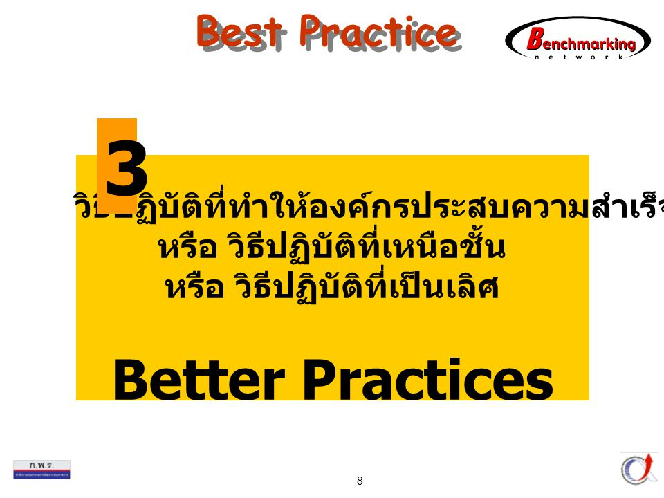 Thailand Productivity Institute 8 Best Practice วิธีปฏิบัติที่ทำให้องค์กรประสบความสำเร็จ หรือ วิธีปฏิบัติที่เหนือชั้น หรือ วิธีปฏิบัติที่เป็นเลิศ Better Practices 3
