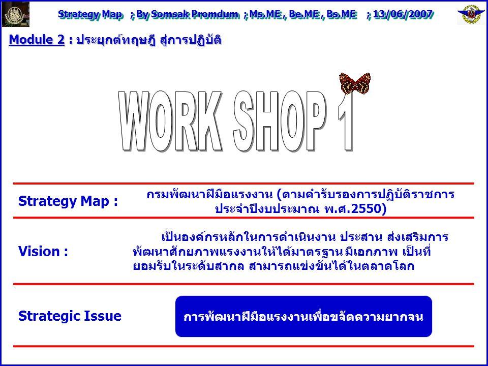 Strategy Map ; By Somsak Promdum ; Ms.ME, Be.ME, Bs.ME ; 13/06/2007 Module 2 : ประยุกต์ทฤษฎี สู่การปฏิบัติ Strategy Map : กรมพัฒนาฝีมือแรงงาน (ตามคำรับรองการปฏิบัติราชการ ประจำปีงบประมาณ พ.ศ.2550) Vision : เป็นองค์กรหลักในการดำเนินงาน ประสาน ส่งเสริมการ พัฒนาศักยภาพแรงงานให้ได้มาตรฐาน มีเอกภาพ เป็นที่ ยอมรับในระดับสากล สามารถแข่งขันได้ในตลาดโลก Strategic Issue การพัฒนาฝีมือแรงงานเพื่อขจัดความยากจน