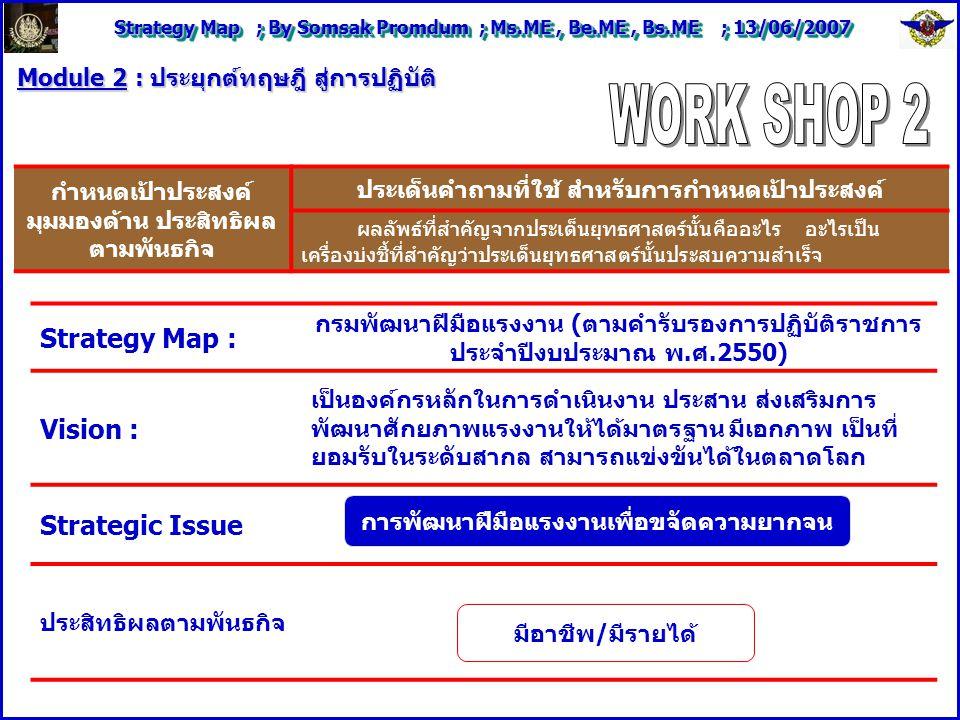 Strategy Map ; By Somsak Promdum ; Ms.ME, Be.ME, Bs.ME ; 13/06/2007 Module 2 : ประยุกต์ทฤษฎี สู่การปฏิบัติ Strategy Map : กรมพัฒนาฝีมือแรงงาน (ตามคำรับรองการปฏิบัติราชการ ประจำปีงบประมาณ พ.ศ.2550) Vision : เป็นองค์กรหลักในการดำเนินงาน ประสาน ส่งเสริมการ พัฒนาศักยภาพแรงงานให้ได้มาตรฐาน มีเอกภาพ เป็นที่ ยอมรับในระดับสากล สามารถแข่งขันได้ในตลาดโลก Strategic Issue ประสิทธิผลตามพันธกิจ กำหนดเป้าประสงค์ มุมมองด้าน ประสิทธิผล ตามพันธกิจ ประเด็นคำถามที่ใช้ สำหรับการกำหนดเป้าประสงค์ ผลลัพธ์ที่สำคัญจากประเด็นยุทธศาสตร์นั้นคืออะไร อะไรเป็น เครื่องบ่งชี้ที่สำคัญว่าประเด็นยุทธศาสตร์นั้นประสบความสำเร็จ การพัฒนาฝีมือแรงงานเพื่อขจัดความยากจน มีอาชีพ/มีรายได้