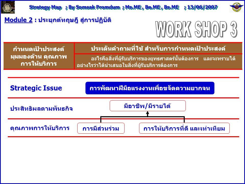 Strategy Map ; By Somsak Promdum ; Ms.ME, Be.ME, Bs.ME ; 13/06/2007 Module 2 : ประยุกต์ทฤษฎี สู่การปฏิบัติ Strategic Issue ประสิทธิผลตามพันธกิจ คุณภาพการให้บริการ กำหนดเป้าประสงค์ มุมมองด้าน คุณภาพ การให้บริการ ประเด็นคำถามที่ใช้ สำหรับการกำหนดเป้าประสงค์ อะไรคือสิ่งที่ผู้รับบริการของยุทธศาสตร์นั้นต้องการ และจะทราบได้ อย่างไรว่าได้นำเสนอในสิ่งที่ผู้รับบริการต้องการ การพัฒนาฝีมือแรงงานเพื่อขจัดความยากจน มีอาชีพ/มีรายได้ การมีส่วนร่วมการให้บริการที่ดี และเท่าเทียม