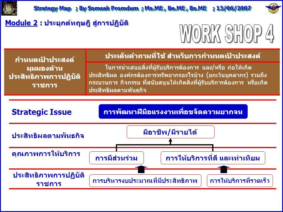 Strategy Map ; By Somsak Promdum ; Ms.ME, Be.ME, Bs.ME ; 13/06/2007 Module 2 : ประยุกต์ทฤษฎี สู่การปฏิบัติ Strategic Issue ประสิทธิผลตามพันธกิจ คุณภาพการให้บริการ ประสิทธิภาพการปฏิบัติ ราชการ กำหนดเป้าประสงค์ มุมมองด้าน ประสิทธิภาพการปฏิบัติ ราชการ ประเด็นคำถามที่ใช้ สำหรับการกำหนดเป้าประสงค์ ในการนำเสนอสิ่งที่ผู้รับบริการต้องการ และ/หรือ ก่อให้เกิด ประสิทธิผล องค์กรต้องการทรัพยากรอะไรบ้าง (ยกเว้นบุคลากร) รวมถึง กระบวนการ กิจกรรม ที่สนับสนุนให้เกิดสิ่งที่ผู้รับบริการต้องการ หรือเกิด ประสิทธิผลตามพันธกิจ การพัฒนาฝีมือแรงงานเพื่อขจัดความยากจน มีอาชีพ/มีรายได้ การมีส่วนร่วมการให้บริการที่ดี และเท่าเทียม การบริหารงบประมาณที่มีประสิทธิภาพ การให้บริการที่รวดเร็ว