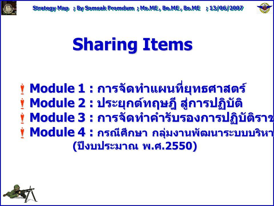 Strategy Map ; By Somsak Promdum ; Ms.ME, Be.ME, Bs.ME ; 13/06/2007 Sharing Items  Module 1 : การจัดทำแผนที่ยุทธศาสตร์  Module 2 : ประยุกต์ทฤษฎี สู่การปฏิบัติ  Module 3 : การจัดทำคำรับรองการปฏิบัติราชการหน่วยงานภายใน  Module 4 : กรณีศึกษา กลุ่มงานพัฒนาระบบบริหาร กรมพัฒนาฝีมือแรงงาน ( ปีงบประมาณ พ.