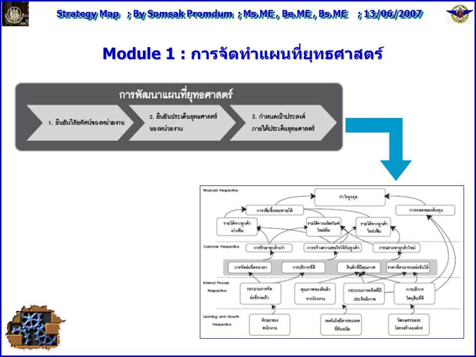 Strategy Map ; By Somsak Promdum ; Ms.ME, Be.ME, Bs.ME ; 13/06/2007 Module 1 : การจัดทำแผนที่ยุทธศาสตร์
