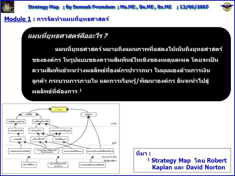 Strategy Map ; By Somsak Promdum ; Ms.ME, Be.ME, Bs.ME ; 13/06/2007 Module 1 : การจัดทำแผนที่ยุทธศาสตร์ แผนที่ยุทธศาสตร์คืออะไร .