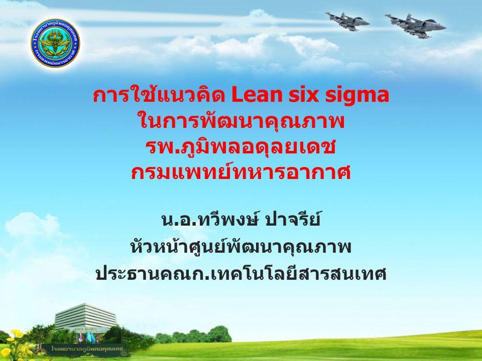 การใช้แนวคิด Lean six sigma ในการพัฒนาคุณภาพ รพ.ภูมิพลอดุลยเดช กรมแพทย์ทหารอากาศ น.อ.ทวีพงษ์ ปาจรีย์ หัวหน้าศูนย์พัฒนาคุณภาพ ประธานคณก.เทคโนโลยีสารสนเ