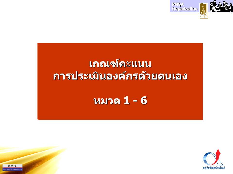 PMQA Organization เกณฑ์คะแนนการประเมินองค์กรด้วยตนเอง หมวด 1 - 6