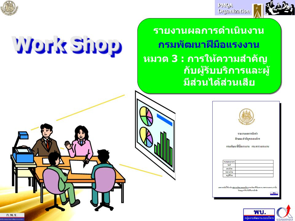 PMQA Organization Work Shop รายงานผลการดำเนินงาน กรมพัฒนาฝีมือแรงงาน หมวด 3 : การให้ความสำคัญ กับผู้รับบริการและผู้ มีส่วนได้ส่วนเสีย รายงานผลการดำเนิ