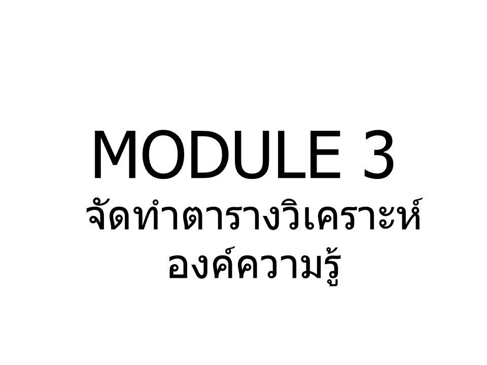 MODULE 3 จัดทำตารางวิเคราะห์ องค์ความรู้