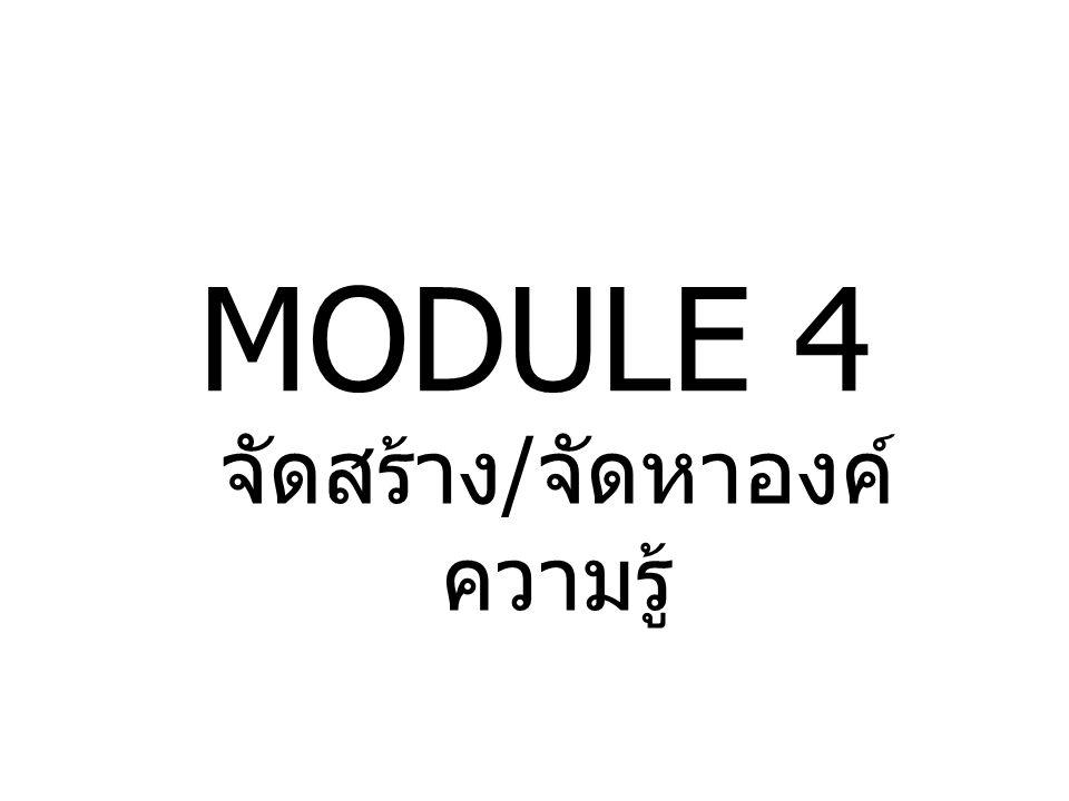 MODULE 4 จัดสร้าง / จัดหาองค์ ความรู้