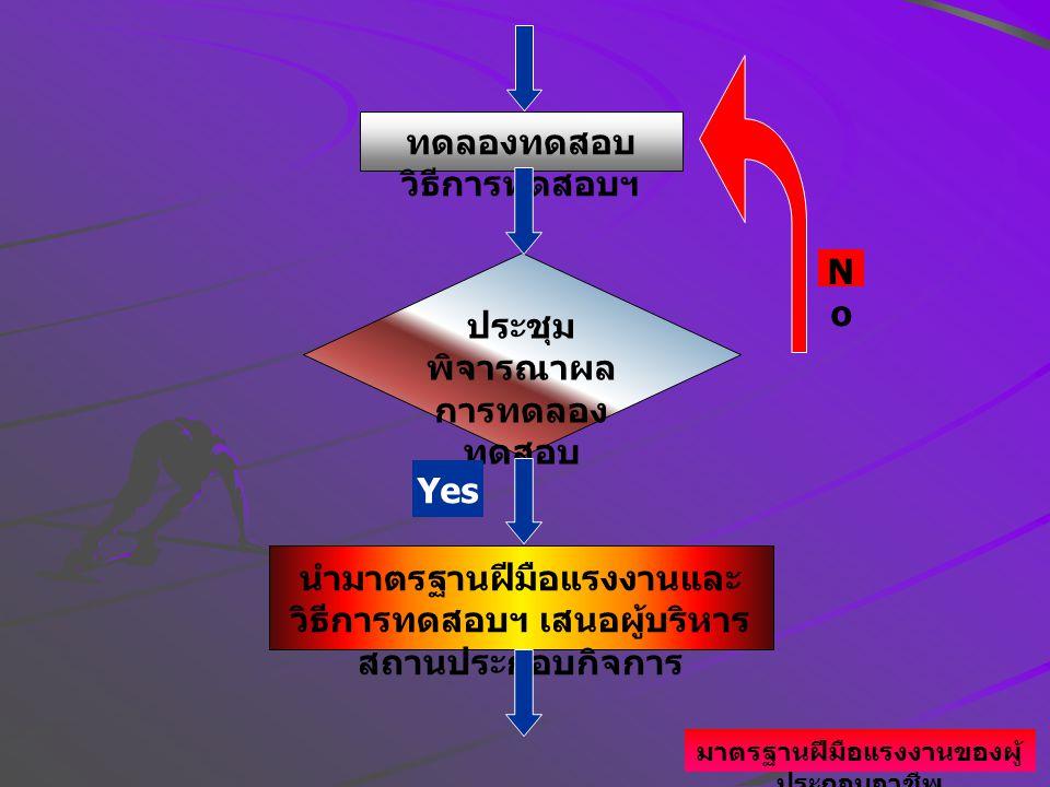 ประชุม พิจารณาผล การทดลอง ทดสอบ นำมาตรฐานฝีมือแรงงานและ วิธีการทดสอบฯ เสนอผู้บริหาร สถานประกอบกิจการ ทดลองทดสอบ วิธีการทดสอบฯ NoNo Yes มาตรฐานฝีมือแรงงานของผู้ ประกอบอาชีพ