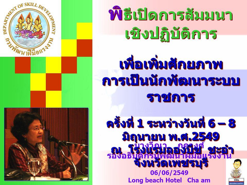 นางวีณา ภควงศ์ รองอธิบดีกรมพัฒนาฝีมือแรงงาน 06/06/2549 Long beach Hotel Cha am พิ ธีเปิดการสัมมนา เชิงปฏิบัติการเพื่อเพิ่มศักยภาพ การเป็นนักพัฒนาระบบ ราชการ ครั้งที่ 1 ระหว่างวันที่ 6 – 8 มิถุนายน พ.