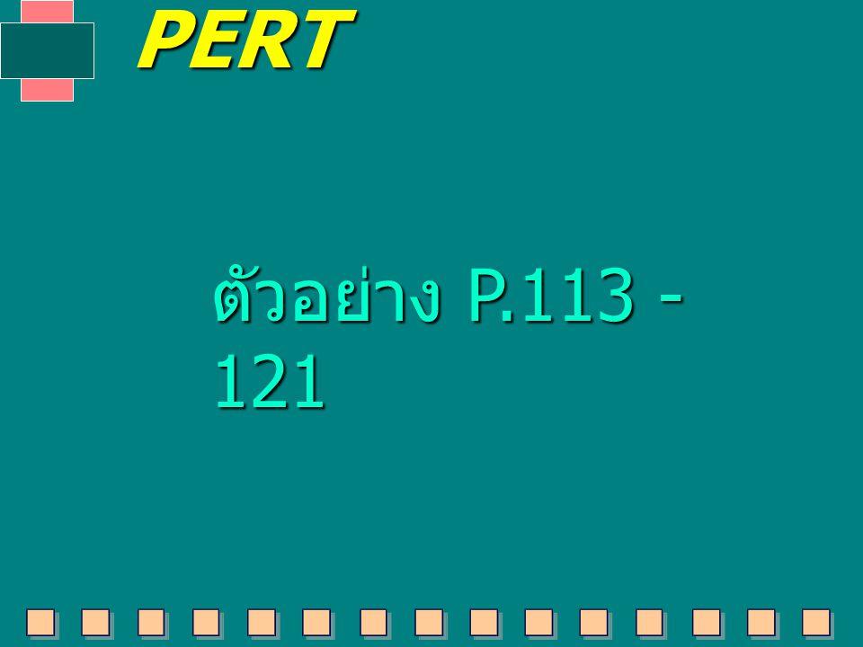 ตัวอย่าง P.113 - 121 PERT