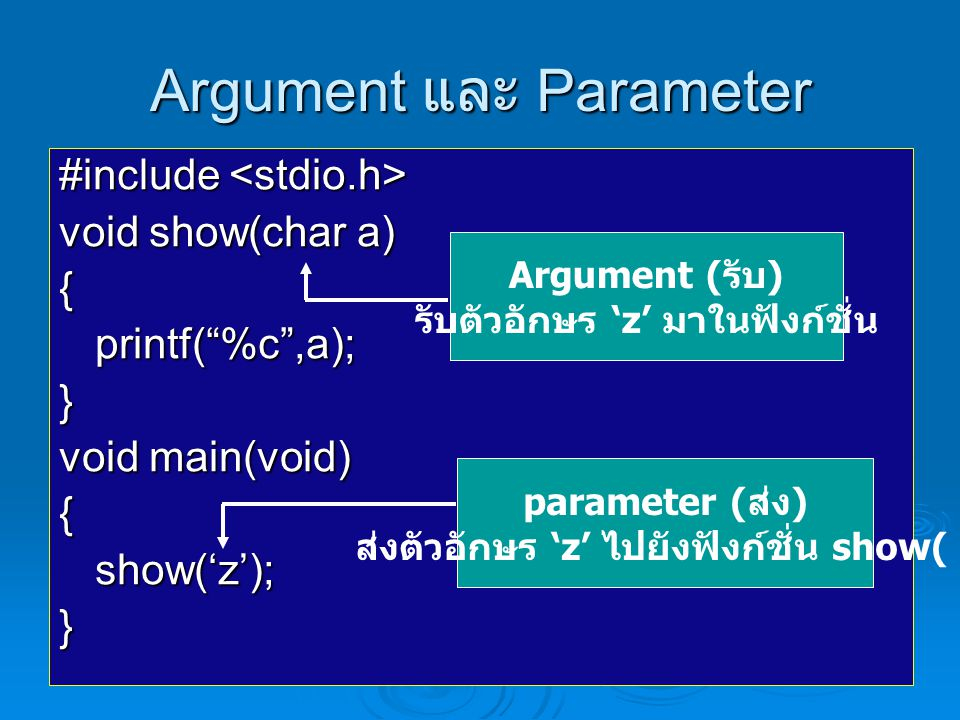 Argument และ Parameter #include #include void show(char a) {printf( %c ,a);} void main(void) {show('z');} Argument ( รับ ) รับตัวอักษร 'z' มาในฟังก์ชั่น parameter ( ส่ง ) ส่งตัวอักษร 'z' ไปยังฟังก์ชั่น show( )