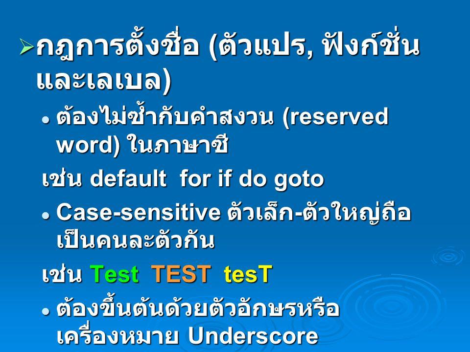  กฎการตั้งชื่อ ( ตัวแปร, ฟังก์ชั่น และเลเบล ) ต้องไม่ซ้ำกับคำสงวน (reserved word) ในภาษาซี ต้องไม่ซ้ำกับคำสงวน (reserved word) ในภาษาซี เช่น default for if do goto Case-sensitive ตัวเล็ก - ตัวใหญ่ถือ เป็นคนละตัวกัน Case-sensitive ตัวเล็ก - ตัวใหญ่ถือ เป็นคนละตัวกัน เช่น Test TEST tesT ต้องขึ้นต้นด้วยตัวอักษรหรือ เครื่องหมาย Underscore ต้องขึ้นต้นด้วยตัวอักษรหรือ เครื่องหมาย Underscore การตั้งชื่อจะไม่เว้นวรรคหรือมีช่องว่าง การตั้งชื่อจะไม่เว้นวรรคหรือมีช่องว่าง การตั้งชื่อจะต้องไม่ประกอบด้วย อักขระพิเศษ เช่น $ @ # & การตั้งชื่อจะต้องไม่ประกอบด้วย อักขระพิเศษ เช่น $ @ # &
