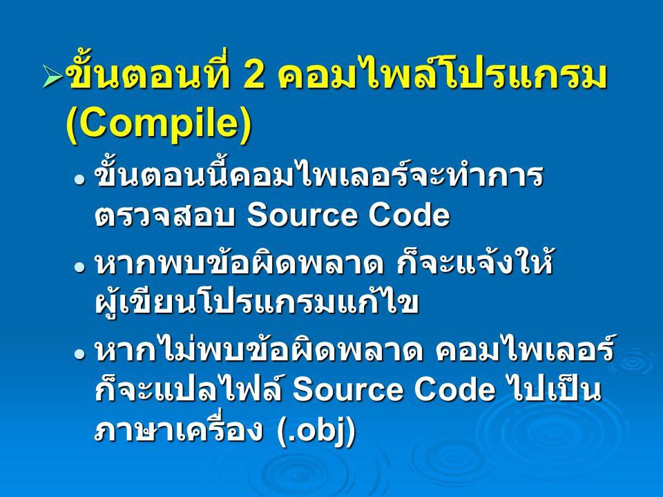  ขั้นตอนที่ 2 คอมไพล์โปรแกรม (Compile) ขั้นตอนนี้คอมไพเลอร์จะทำการ ตรวจสอบ Source Code ขั้นตอนนี้คอมไพเลอร์จะทำการ ตรวจสอบ Source Code หากพบข้อผิดพลา