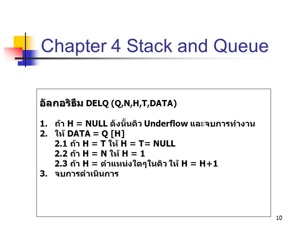 10 Chapter 4 Stack and Queue อัลกอริธึม อัลกอริธึม DELQ (Q,N,H,T,DATA) 1. ถ้า H = NULL ดังนั้นคิว Underflow และจบการทำงาน 2. ให้ DATA = Q [H] 2.1 ถ้า