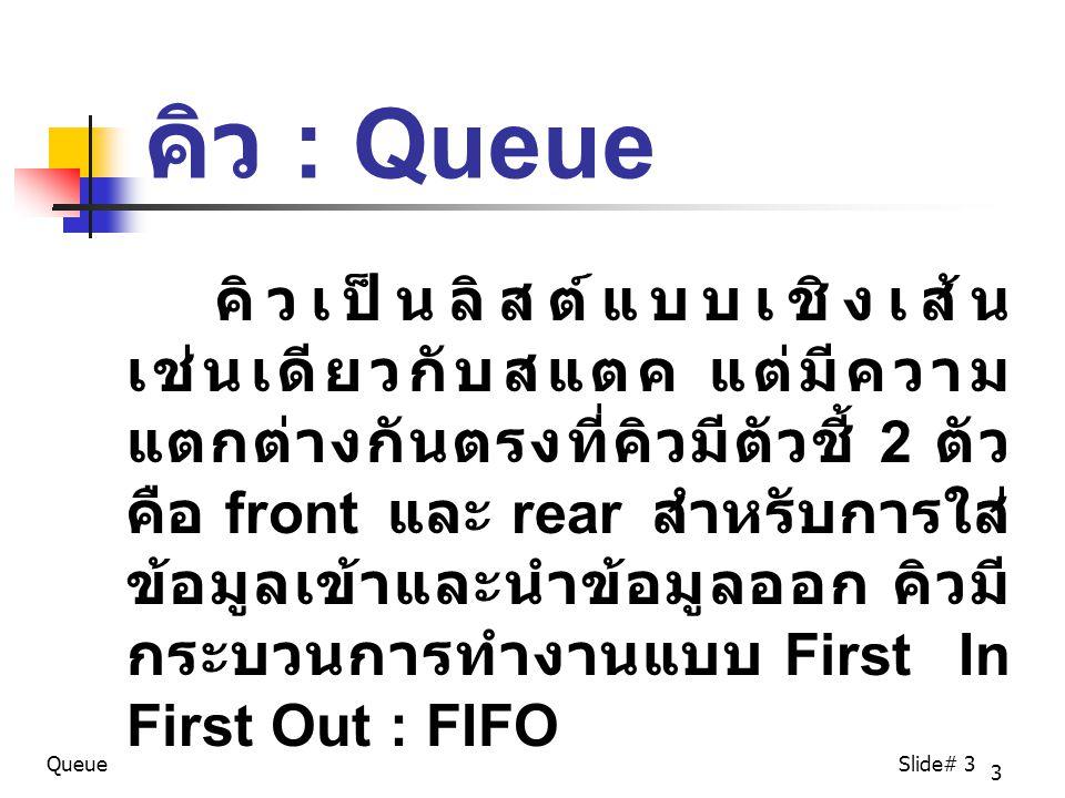 3 คิว : Queue คิวเป็นลิสต์แบบเชิงเส้น เช่นเดียวกับสแตค แต่มีความ แตกต่างกันตรงที่คิวมีตัวชี้ 2 ตัว คือ front และ rear สำหรับการใส่ ข้อมูลเข้าและนำข้อมูลออก คิวมี กระบวนการทำงานแบบ First In First Out : FIFO QueueSlide# 3
