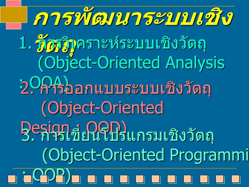 การพัฒนาระบบเชิง วัตถุ 1. การวิเคราะห์ระบบเชิงวัตถุ (Object-Oriented Analysis : OOA) (Object-Oriented Analysis : OOA) 2. การออกแบบระบบเชิงวัตถุ (Objec